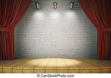 cortinas, arriba, render, de madera, proyectores, pared, blanco rojo, etapa, ladrillo, simulado, 3d