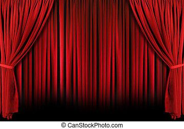 cortinas, dramático, sombras, luz teatro, vermelho