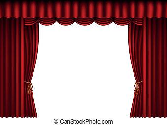 cortinas, em branco, vermelho, espaço