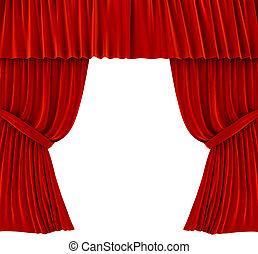 cortinas, encima, rojo blanco