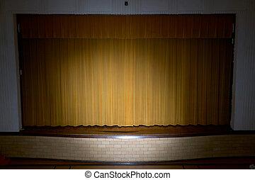 cortinas, escola, fase, holofote, desenhado