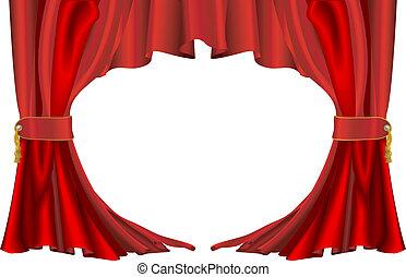 cortinas, estilo, rojo, teatro