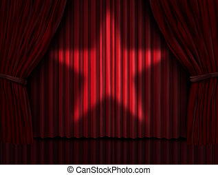 cortinas, estrella, rojo