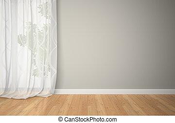 cortinas, habitación, vacío