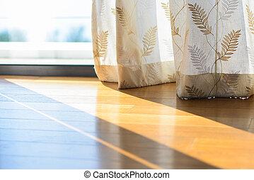 cortinas, janela, através, sombra, brilhar