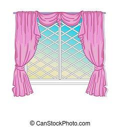 cortinas, janela, princesa