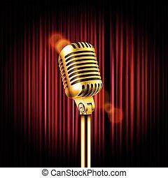 cortinas, micrófono, concepto, illustration., exposición,...
