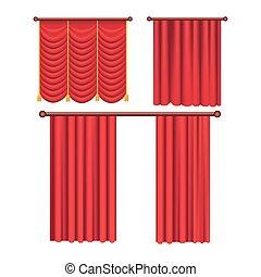 cortinas, pomposo, white., colección, escarlata