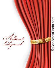 cortinas, raso, plano de fondo, oro, rojo