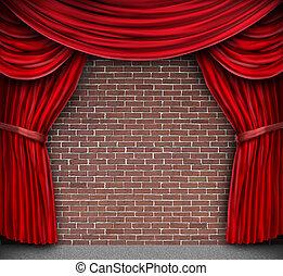 cortinas rojas, en, un, pared ladrillo