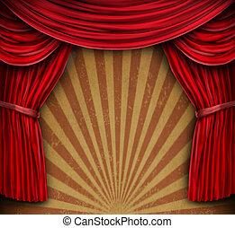 cortinas rojas, en, un, viejo, grunge, pared