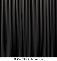 cortinas, seda, negro