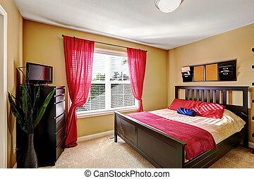 cortinas, simple, práctico, diseño, dormitorio, todavía, rojo