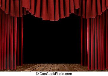 cortinas teatro, com, chão madeira