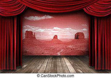 cortinas teatro, fundo, paisagem deserto, vermelho