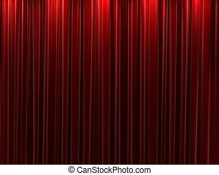 cortinas, terciopelo, fondo rojo