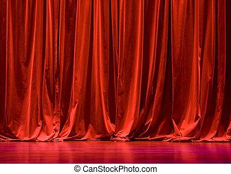 cortinas, terciopelo, rojo, etapa