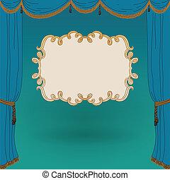 cortinas, vector, ilustración, etapa