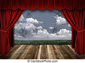cortinas, veludo, dramático, teatro, vermelho, fase