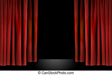 cortinas, veludo, elegante, teatro, vermelho, fase
