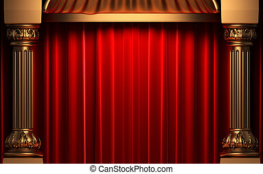cortinas, veludo, ouro, atrás de, vermelho, colunas