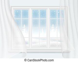 cortinas, ventana el invierno