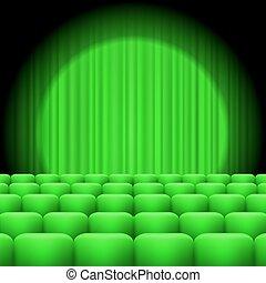 cortinas, verde, proyector, asientos
