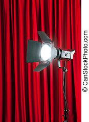 cortinas, wtih, projetor, espaço, texto, luzes, seu