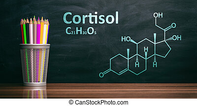 Cortisol structural chemical formula, Chalk drawing on a blackboard. 3d illustration