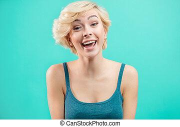 corto, capelli giusti, hipster, bello, ragazza, fun., ...