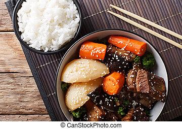 corto, jjim, manzo, costole, jim, -, o, cima, galbi, rice., brasato, orizzontale, coreano, kalbi, vista