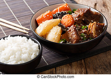 corto, jjim, manzo, costole, jim, -, o, galbi, rice., brasato, orizzontale, coreano, kalbi