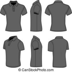 corto, manica camicia, uomini, nero, polo