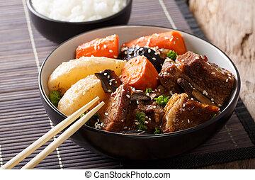 corto, manzo, costole, coreano, jjim, brasato, close-up., orizzontale, riso, galbi