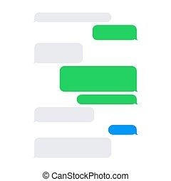 corto, messaggio, servizio, sms, vuoto, bolle, set., vettore
