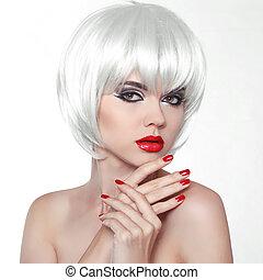 corto, nails., bellezza, trucco, isolato, capelli, fondo., labbra, donna, rosso, manicured, polacco, ragazza, moda, bianco, hands.