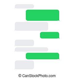 corto, servizio, set., sms, vettore, messaggio bianco, bolle