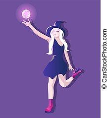 corto, vestire, alti talloni, biondo, strega, giovane, lungo, magia, ardendo, donna, globo, presa a terra, fly., capelli, attraente, cappello