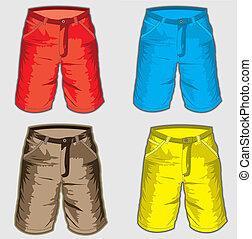 cortocircuito, jadeo, -, pantalones cortos de bermuda