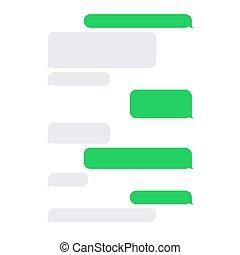 cortocircuito, mensaje, servicio, sms, blanco, burbujas, set., vector