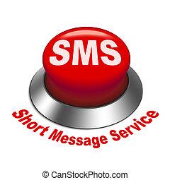 cortocircuito, servicio, ), (, botón, sms, ilustración, mensaje, 3d