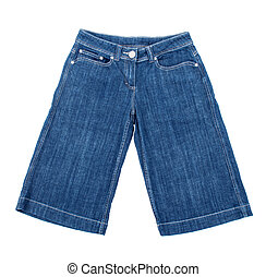 cortocircuitos azules, aislado, plano de fondo, jean, blanco