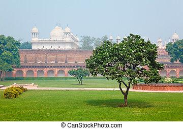 cortyard, índia, uttar pradesh, agra, forte vermelho