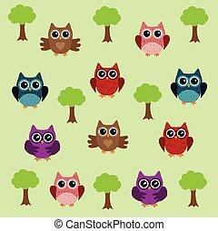 coruja, árvore, fundo
