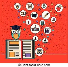 coruja, ícones, cor, elemento, livro, fundo, faíscas, educação