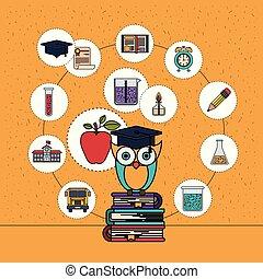 coruja, ícones, cor, elemento, livros, fundo, faíscas, educação, pilha