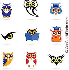 coruja, ícones, e, logotipos