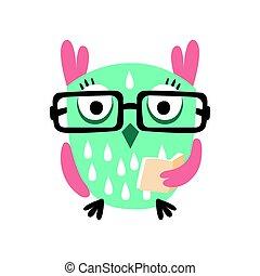 coruja, óculos, coloridos, personagem, ilustração, caricatura, livro, vetorial, segurando, pássaro