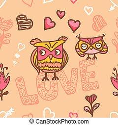 coruja, amantes, seamless, fundo