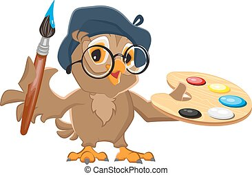 coruja, artista, escova segurando, paleta